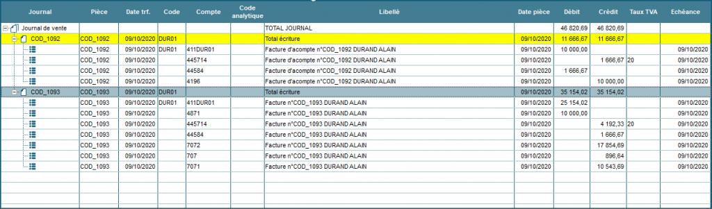 Exemple d'écriture comptable pour facture d'acompte
