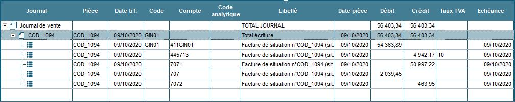 Exemple d'écriture comptable de vente Situation